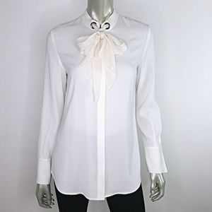 St. John White Long Sleeve Button Up Blouse Size 2